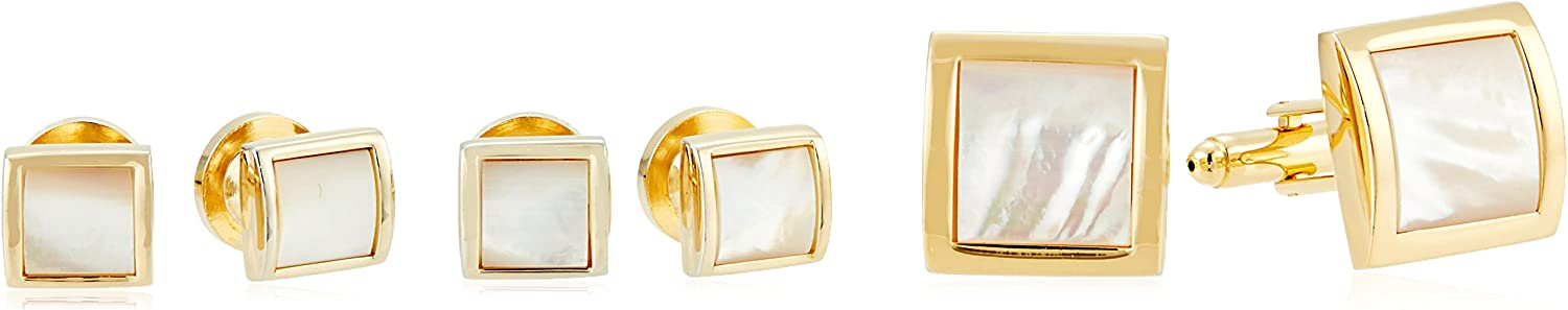 Stacy Adams Men's Square Gold with Mother Of Pearl Cuff Link Stud Set