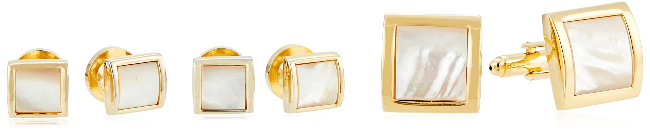 Stacy Adams Men's Square with Mother Of Pearl Cuff Link Stud Set, Gold, One Size