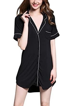 76a6f1981a Dolamen Women's Dressing Gown Nighties Nightshirt, Ladies Soft Smooth  Pyjamas Nightwear, Modal Cotton Nightdress, Check Buttoned Shirt Collar  with Pocket