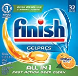 Finish All in 1 Gelpacs Orange, 192ct, Dishwasher Detergent Tablets (8X32ct)