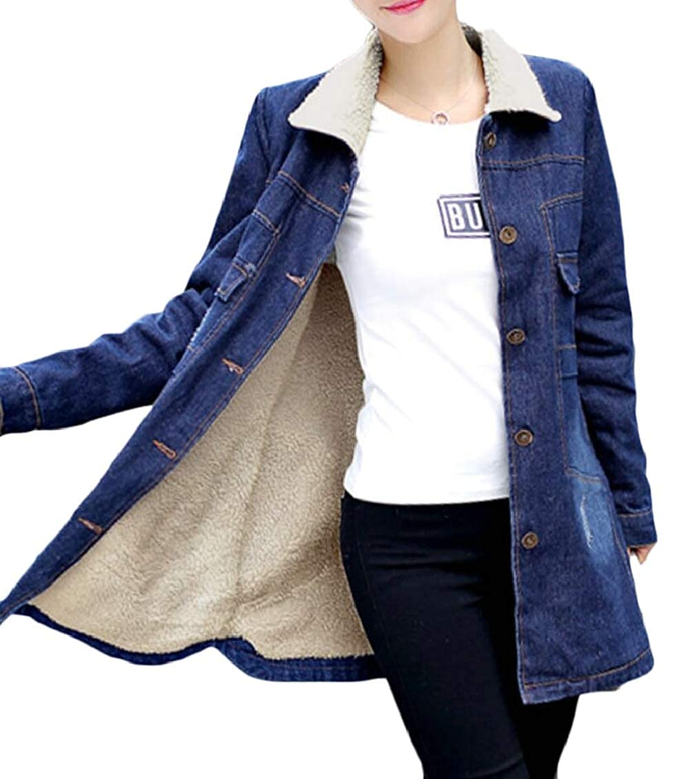 TD-CACA Women's Mid Long Outerwear Denim Faux Fur Lined Single Breasted Jackets