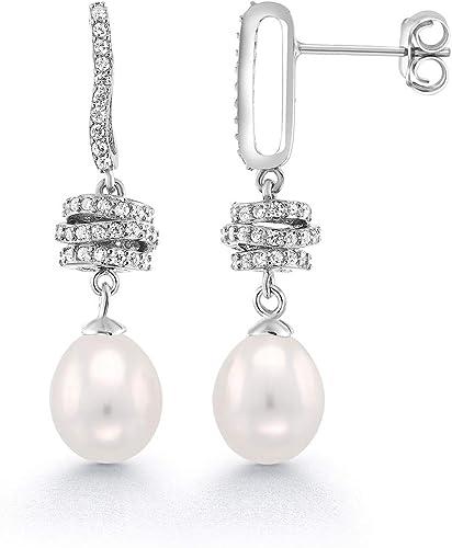 925 Sterling Silver AAA Real Cultured Freshwater Pearl Tear Drop Earrings Gift