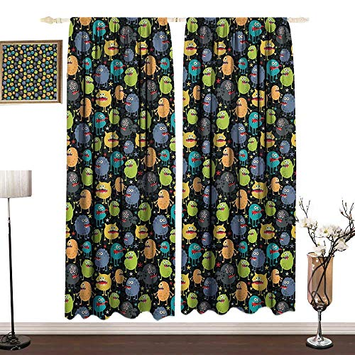 DESPKON-HOME Alien Outdoor Curtains Living Room Drapes Cute Funny Characters Cartoon Style Halloween Themed Monsters Abstract Background Décor Darkening Curtains W96 x L72 in Multicolor