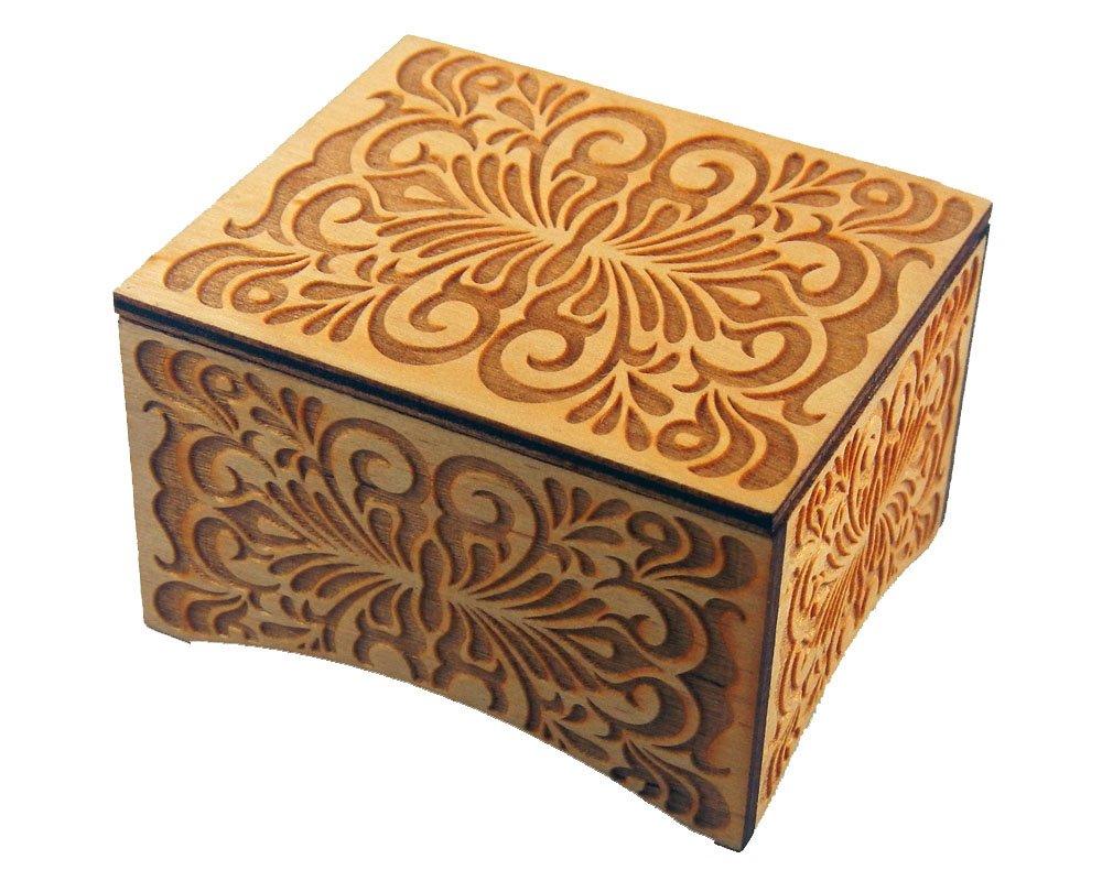 TheLaser'sEdge, Personalizable Floral Windup Music Box, Laser Engraved Wood (Personalized, La Vie En Rose)