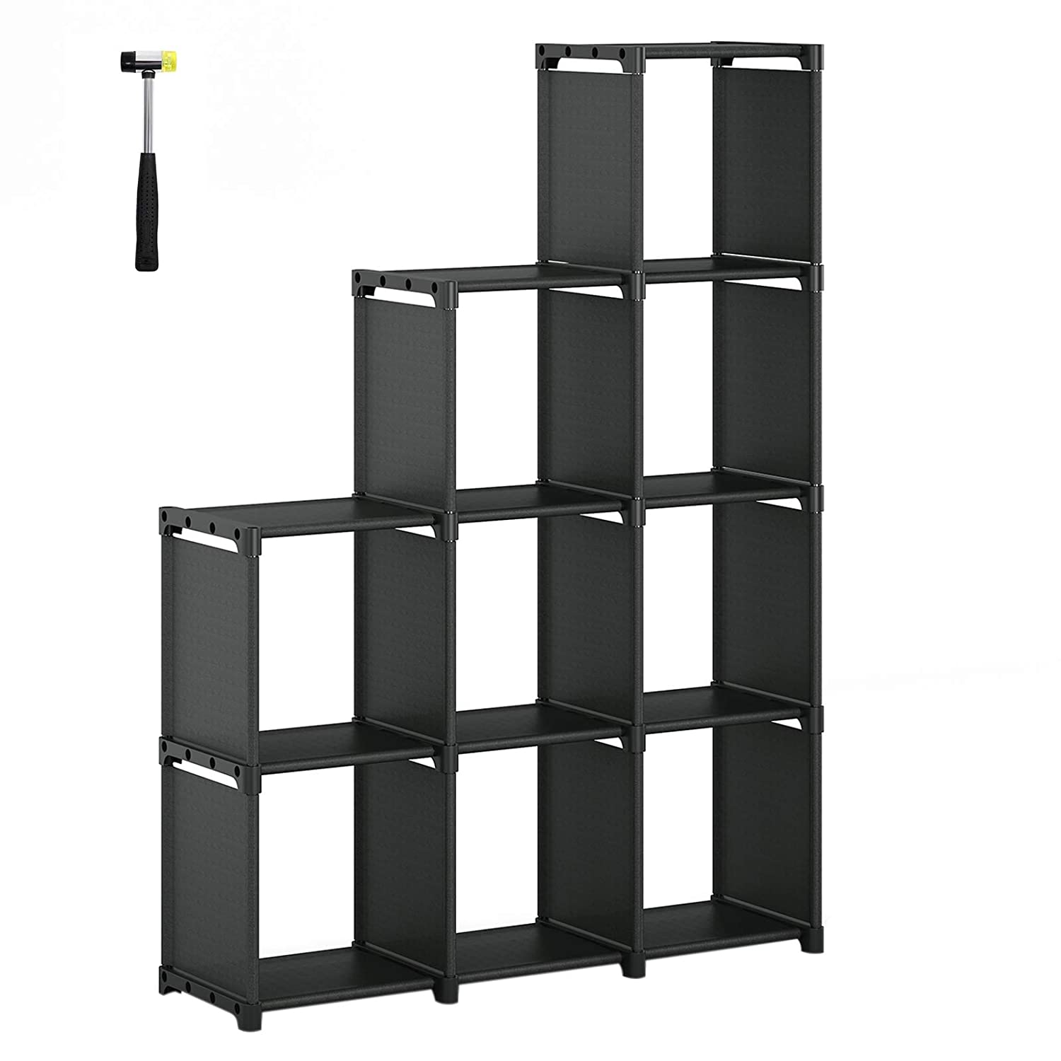 SONGMICS 9-Cube DIY Storage Shelves, Open Bookshelf, Closet Organizer, for Family Study, Living Room, Bedroom, Kid s Room, Black ULSN33BK