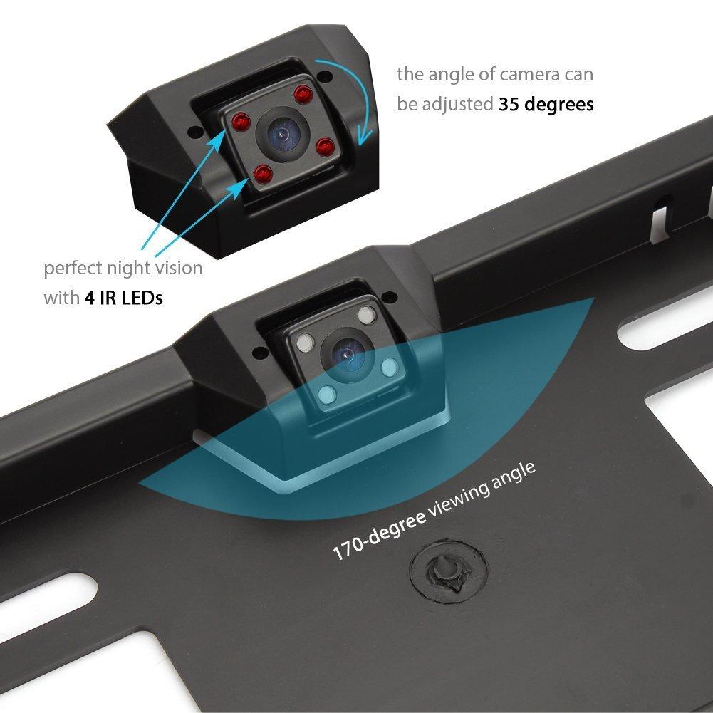 Homelink Nachtsicht R/ückfahrkamera 170/° Winkel 4 LED R/ückfahrkamera an Nummernschild Kennzeichen Einparkhilfe Park-R/ückfahrkamera Auto R/ückansicht Kamera Einparkkamera Backup Rearview cam Dash