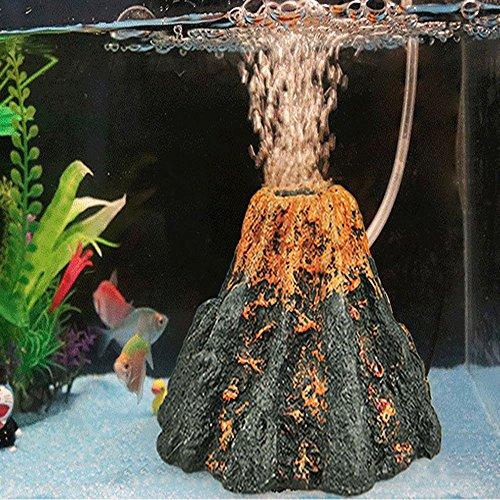 Wffo Aquarium Volcano Shape & Air Bubble Stone Oxygen Pump Fish Tank Ornament Decor (Multicolor)