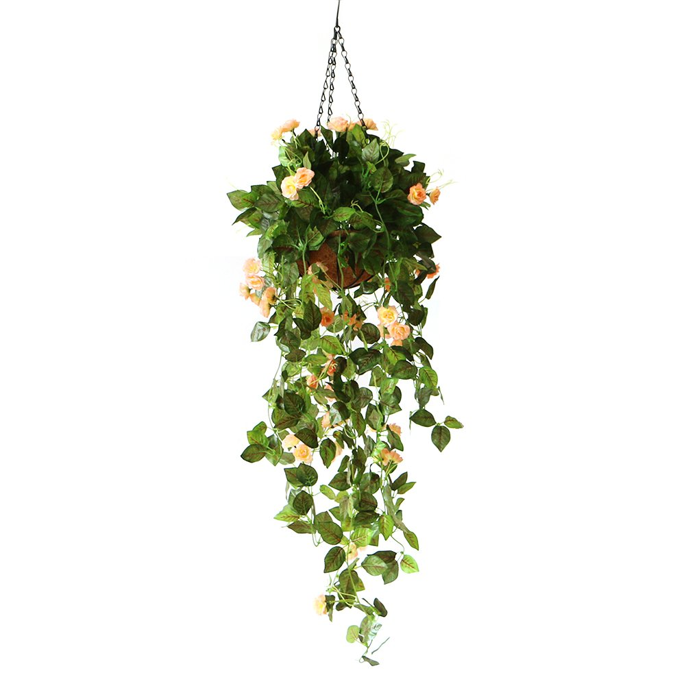 Bulary Fake Hanging Basket Plants, Artificial Rose Wall Hanging Bracketplant Rattan Decor Hanging Basket Decorative Silk Plant for Outdoor & Indoor Ornaments Home Decor