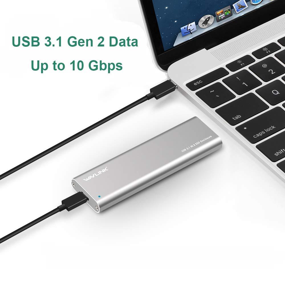 Wavlink USB C M.2 NGFF - Carcasa para Disco Duro SATA a USB C SSD Caddy – Tipo C Gen 2 SuperSpeed hasta 10 Gbps con diseño de Aluminio, Incluye Cables ...