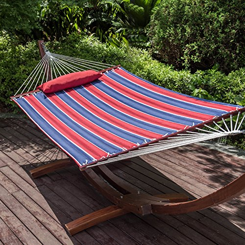 Classic Poly Quilted Hammock (Lazy Daze Hammocks Hammock Quilted Fabric with Pillow for Two Person Double Size Spreader Bar Heavy Duty Stylish, Classic Red/Navy Stripe)