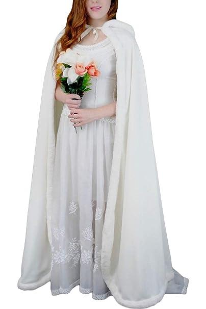 e358483dd Amazon.com  Faithclover Wedding Cloak Hooded Long Faux Fur Warm ...