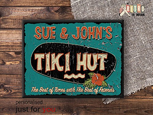 metal Signs Personalised Tiki Sign, Tiki Hut Sign, metal wall plaque, retro style, custom bar sign, Vintage, Tropical Bar Sign, Beach Bar 12 x 16 inch