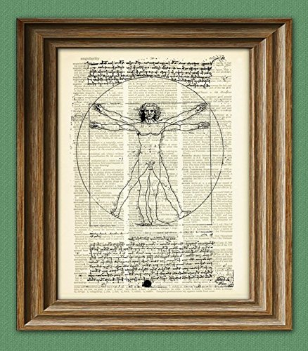 The Vitruvian Man from Leonardo Da Vinci on vintage dictionary page book art print Davinci