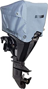 Boat Motor Cover (Sizes: 10hp - 300hp) - Heavy Duty 600D Diamond Polyester, Waterproof, Ventilated (Storage Bag Included)