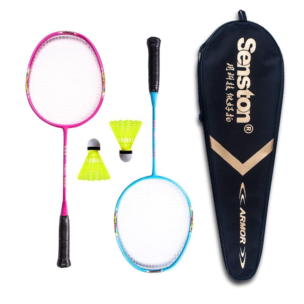 Senston Graphite Mini Badminton Set Junior Badminton Racket Kit Outdoor Sport Game Set,Gifts for Kids - Red and Blue