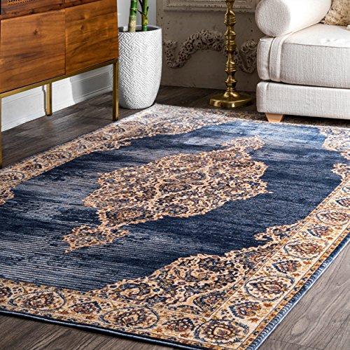 (Traditional Area Rug Oriental Floral Medallion Royal Navy Blue Extra Large 9x12 Elegant Carpet Fashion Quality Mats Elegant Style Rugs (9' x 12' Rectangle))