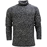 French Connection Men's Tweed Applique Striped Sweatshirt, Black, L