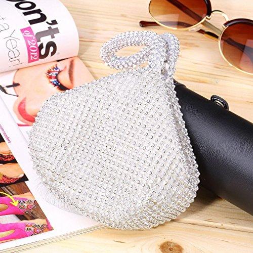 Jian Ya Na Fashion Women Rhinestone Trihedral Clutch Evening Bag Bling Zipper Wedding Purse (Silver) by Jian Ya Na (Image #7)