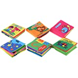 RuleaxAsi Baby's First Non-Toxic Fabric Book 6Pcs Washable Soft Cloth Book Early Education Intelligent Toy for Infant…