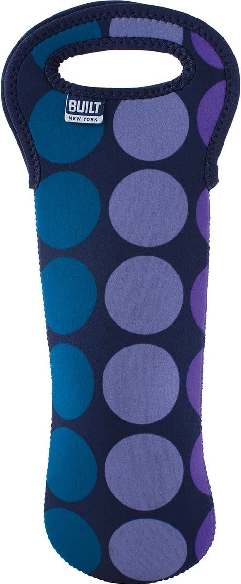 BUILT NY Neoprene Wine/Water Bottle Tote, Plum Dot