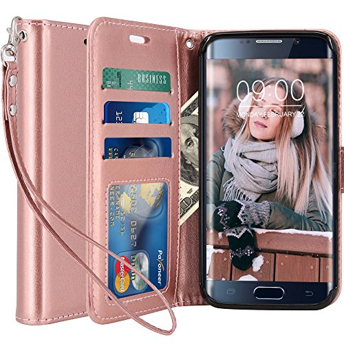 Galaxy S6 Edge Case, LK [Wrist Strap] Luxury PU Leather Wallet Flip Protective Case Cover with Card Slots and Stand for Samsung Galaxy S6 Edge (Rose Gold)
