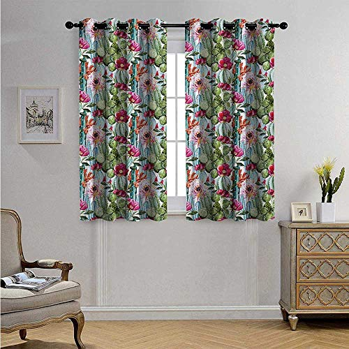 Cactus Decorative Curtains for Living Room Tropical Botanic Cactus Exotic Desert Plants with Flowers and Buds Artwork Image Blackout Drapes W55 x L63(140cm x 160cm) Multicolor
