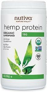 Nutiva Hemp Protein, Organic Superfood, Cold-Pressed Hemp Oil, 16 Fl Oz, 15 Servings, Vegan, Non-GMO, 15g Protein Per Serving, Nutiva Hemp Oil (Pack of 1)