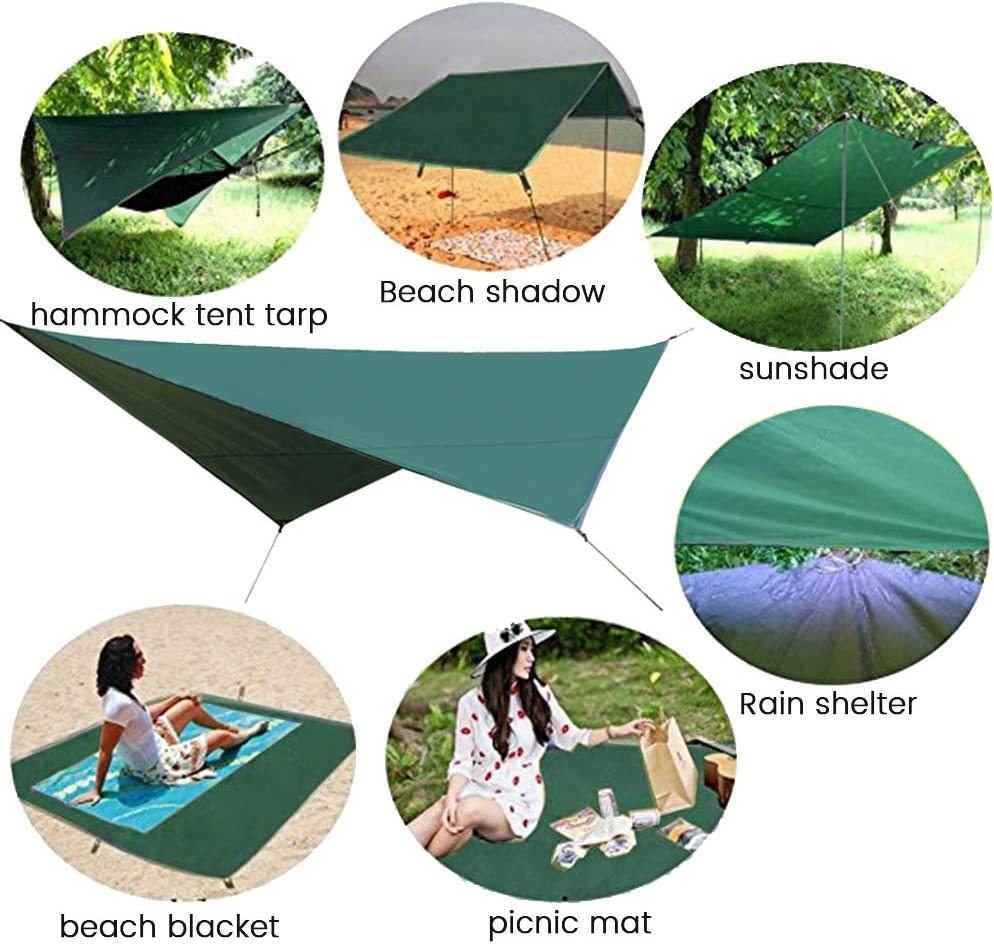 Waterproof and UV Protection Tent with Carrying Bag Portable Multifunctional Heavy Duty Hammock Tarp for Camping Hiking and Survival Gear VARWANEO Camping Rain Fly Tarp 8x10Ft