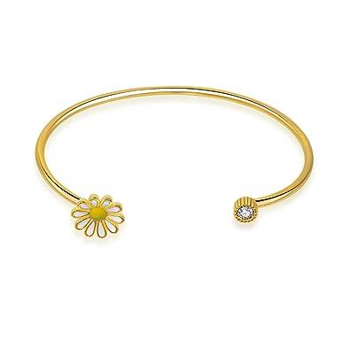 48ff85de297 DESIGN 14K Gold Plated Adjustable Open Bangle Bracelet Daisy Flower and  Crystal Charm Cuff