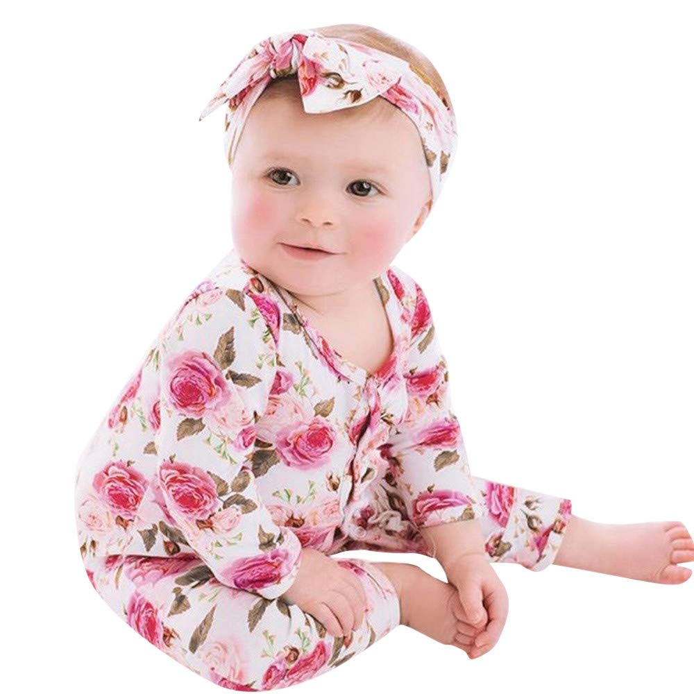 0-2Years,Zimuuy Infant Baby Girls Boys Long Sleeve Flower Floral Printing Romper Jumpsuit Outfits Set Clothes