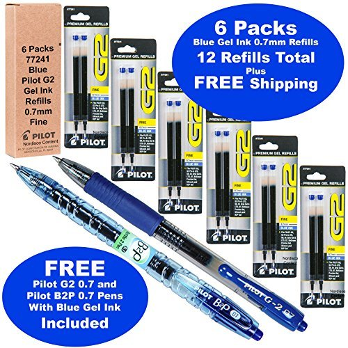 Pilot G2 Refills, Blue Ink 0.7mm Fine, 6 Packs of Refills Plus 1 Pilot G2 07 Blue Pen and 1 Pilot B2p Blue Pen