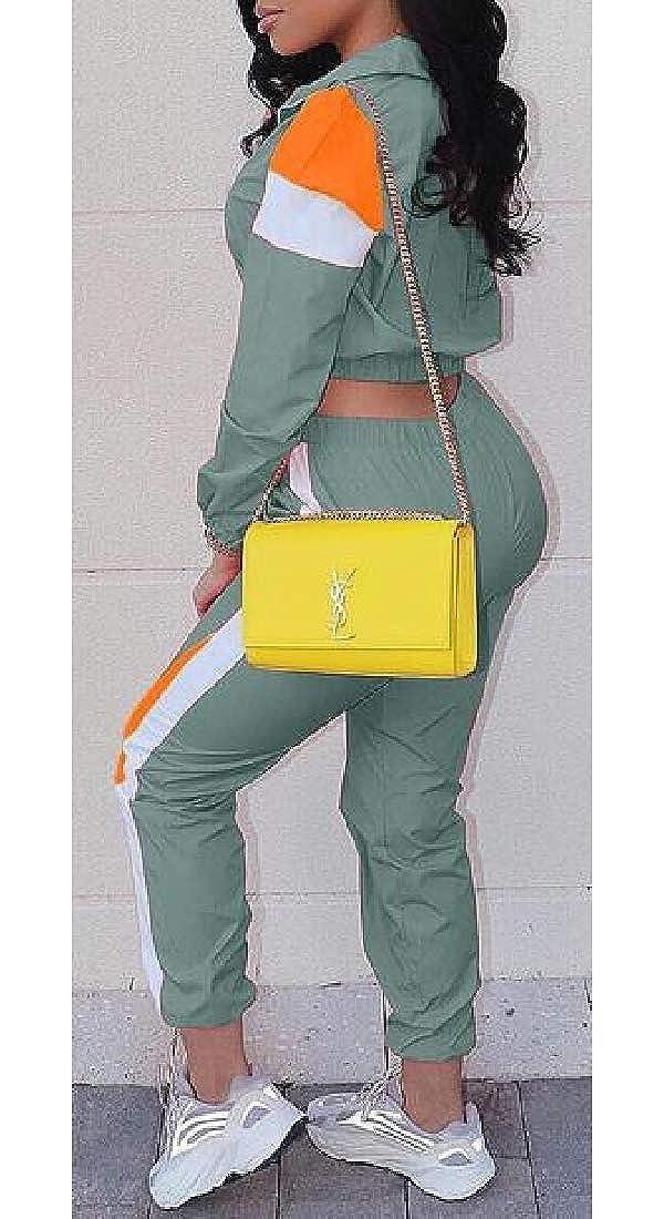 Jotebriyo Womens Jacket Pants Color Block 2 PCS Outfits Athletic Casual Tracksuit Sets
