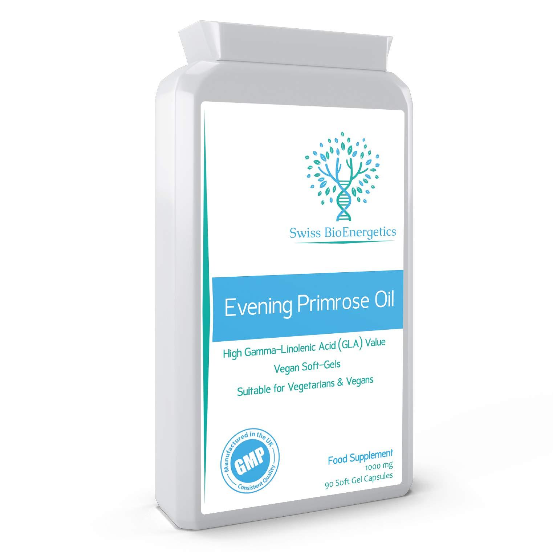 Evening Primrose Oil 1000mg 90 Capsules - Cold Pressed - High GLA Formulation with Vitamin E - No GMOs - UK Made Vegan Soft Gels