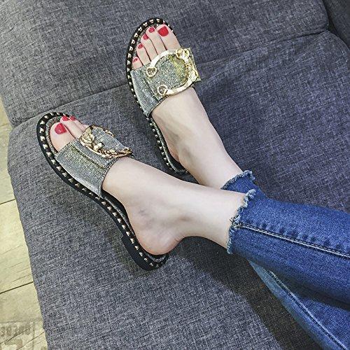 Sandalias Mismo Coreana de Versión Femenina D Rojo Mujer con y 2018 de de de Verano Hadas Moda Zapatillas Zapatillas Chic el Ropa Plana la Nueva Párrafo ITTXTTI Neto Salvaje de wSaI0I