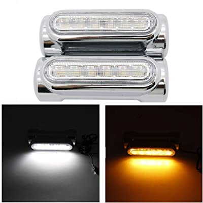 SOYAVISION Pair Motorcycle Highway Bar Switchback Driving Lights DRL Turn Signal White Amber LED Lamp for Harley Davidson Touring Bikes Crash Bars (Silver): Automotive