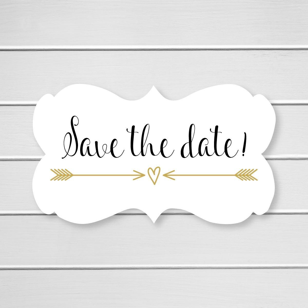 36- Save The Date Wedding Envelope Seals (#366) (Gold/Black)