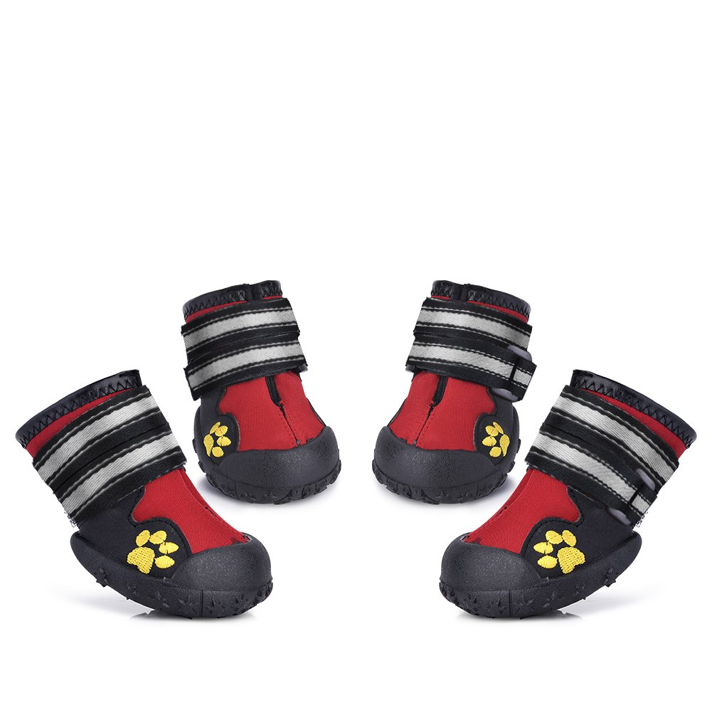 Dog Shoes for Medium to Large Dogs Labrador Husky Shoes 4 Pcs, Waterproof (Red, Size 5)