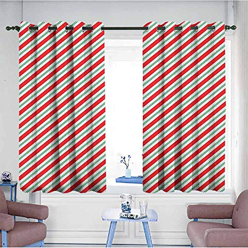 - HOMEDD Blackout Curtains,Candy Cane Bicolor Stripes and Lines Festive Traditional Design Seasonal Pattern,Insulated with Grommet Curtains for Bedroom,W55x72L Red Fern Green White