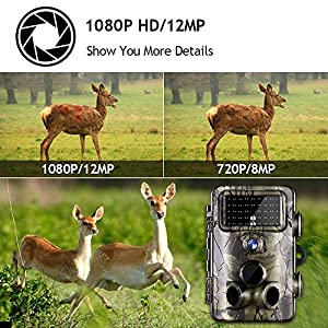 Gosira Game Camera Fastest 0.4S Trigger 1080P Trail HD Night Vision Latest 940nm Low Flash Infrared LED Deer Hunting 12MP IP66 Waterproof Wildlife Animal Monitor Viewer Cam Outdoor Motion Activated