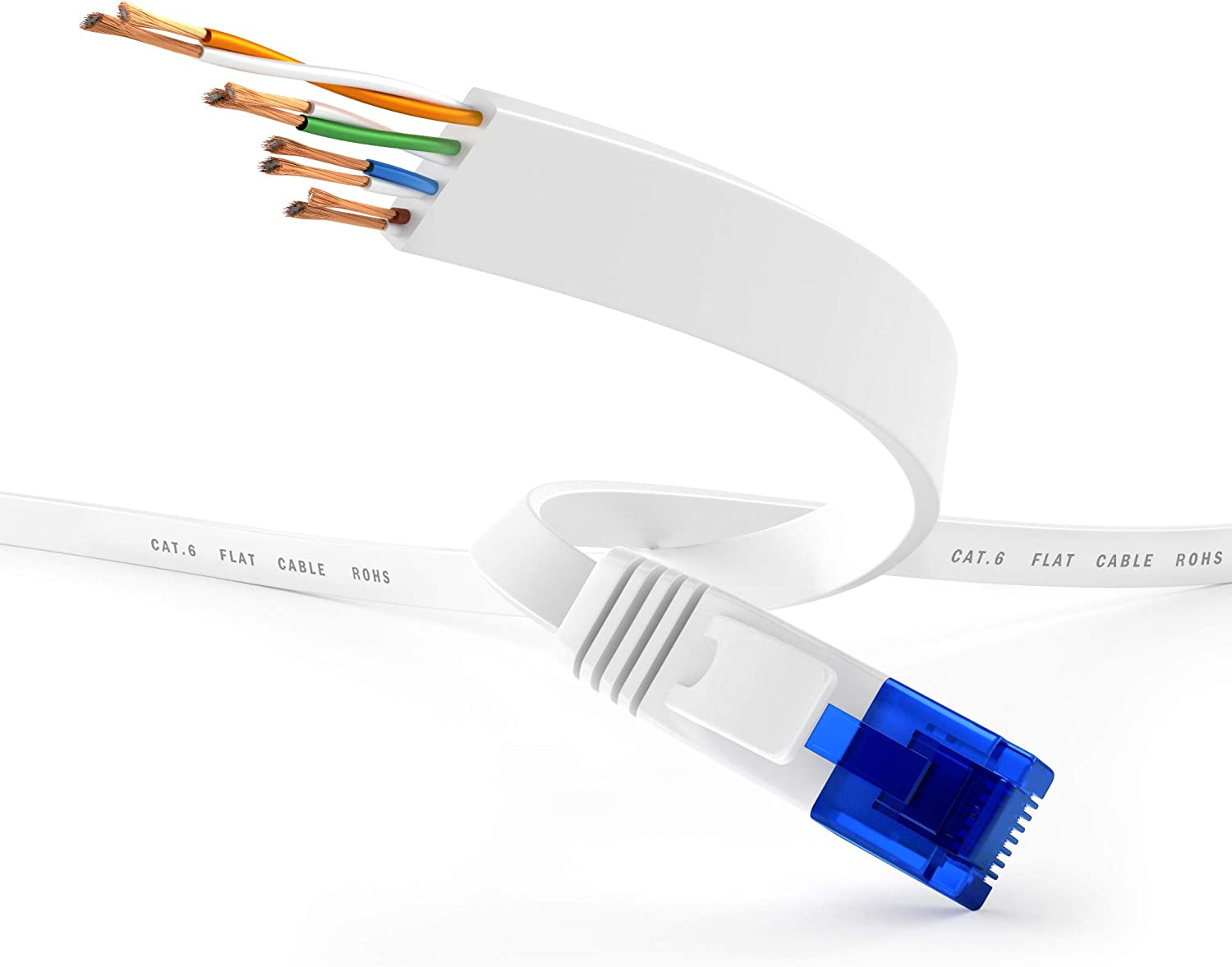 KabelDirekt transfers Gigabit Internet Speed /& is Compatible with Gigabit Networks, Switches, Routers, Modems with RJ45 Port, White, Blue LAN /& Patch Cable 25 feet Flat Ethernet Network