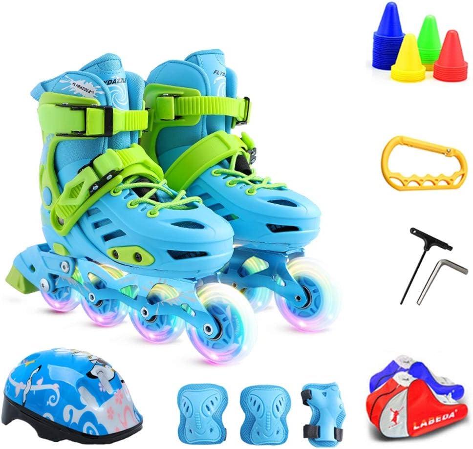 ZHANGHAIMING 子供のためのインラインスケート、男の子と女の子のための調節可能な単列ローラースケート、3-12歳のためのフラッシュスケートのフルセット、ブルーピンク (Color : 青, Size : 29)