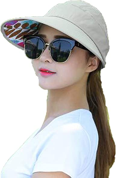 Womens Sun Hats Summer Beach Pearl Sun Visor Big Heads Wide Brim Uv Protection