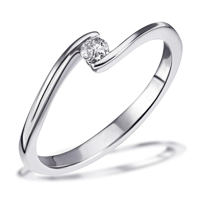 Weißgold verlobungsring  Goldmaid Damen-Ring Solitär Verlobungsring 585 Weißgold 1 Brillant ...