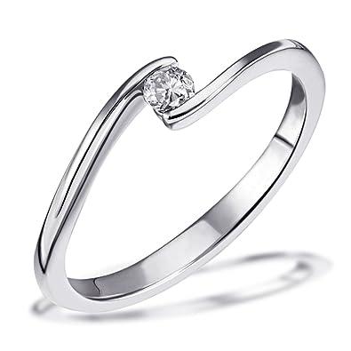 Goldmaid Damen Ring Solitar Verlobungsring 585 Weissgold 1 Brillant 0