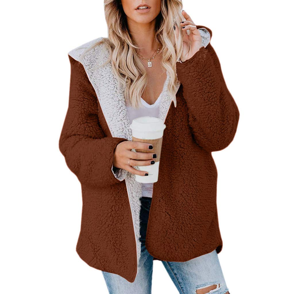 Redacel Women Casual Solid Color Faux Fur Plush Outerwear Hooded Cardigan Pocket Jacket Coat(M,Khaki) by Redacel
