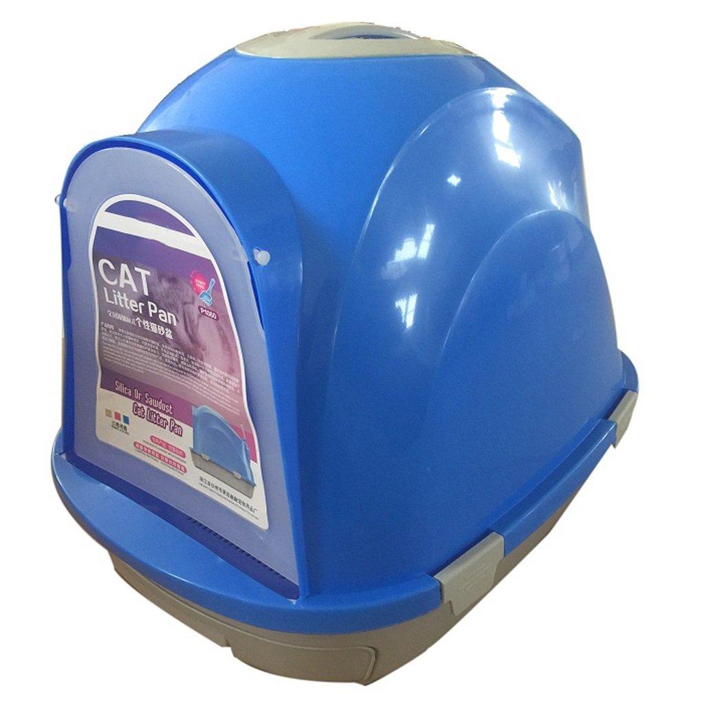 Hong Tai Yang 猫のトイレ - 完全に閉じたごみは、砂の猫の消耗品/きれいにする/環境にやさしい/耐久性のある/猫のごみと簡単にごみの猫のトイレをスプラッシュすることができます / (色 : 青) B07PHQ72HH 青