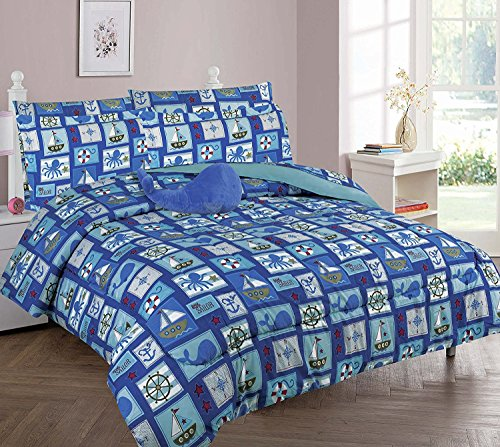 215e5ec0bb93 If you want to go shopping for WPM Sailor Blue bedding set whale shark sea  creatures boat print choose from Full Twin comforter or bed sheets or  window ...