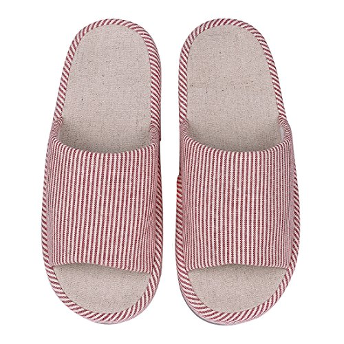 Shevalues Womens Open Toe House Slippers Casual Cotton Flax Tatami Slippers Slip On Arch Support Indoor Slippers Red abJLaZ