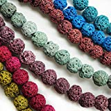 Nature Beads Lava Rock Loose Round Bead Multi-Color Gemstone Energy Healing Stone with Cord for Jewelry Making
