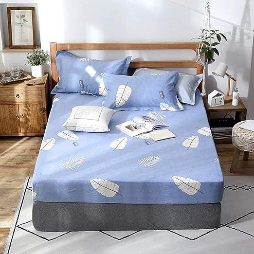 GUANLIDE Sabana encimera Cama,Cama Doble de una Sola Pieza, sábanas Ajustables, Funda de colchón de algodón para niños niñas Azul Claro_120 * 200cm: Amazon.es: Hogar